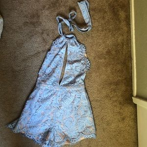 Blue and Nude Lace Open Back Romper